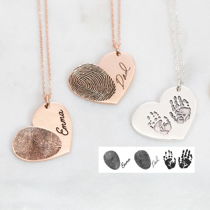 necklace hand fingerprint heart on double large jewellery charm