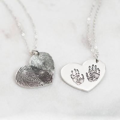 Baby footprint necklace engraved fingerprint necklace handprint baby footprint necklace sterling silver engraved fingerprint necklace handprint art jewelry new mom aloadofball Choice Image