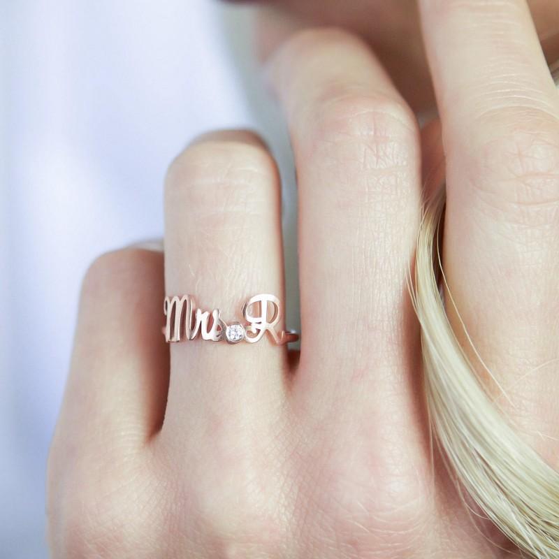 Custom Engagement Ring • Custom Name Ring with Birthstone