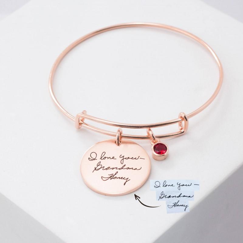 901c64240eded Custom Handwriting Bracelet • Engraved Signature Disc Bracelet ...