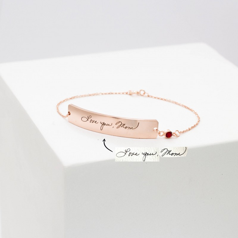 8c233694e2ea1 Custom Handwriting Jewelry • Engraved Signature Bracelet ...