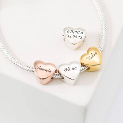 Custom name heart charm baby family charm bracelet personalized custom name heart charm baby family charm bracelet personalized european bead jewelry in gold negle Choice Image