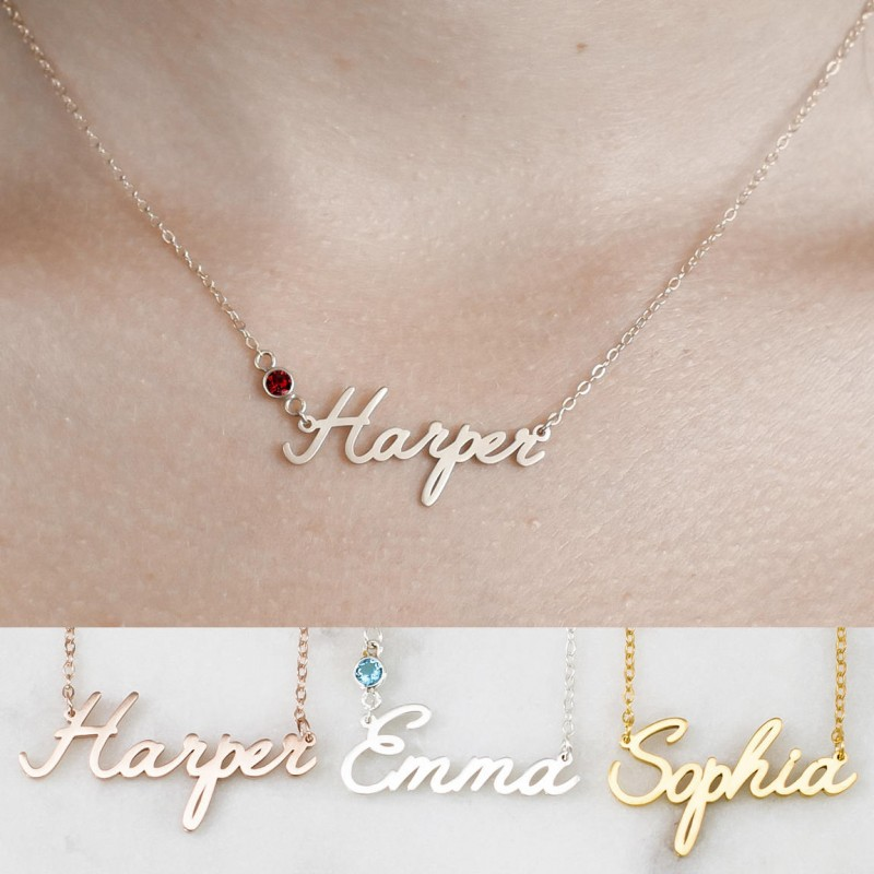 c1b301e500859 Custom Name Necklace • Personalized Name Necklace • Baby Girl Name ...