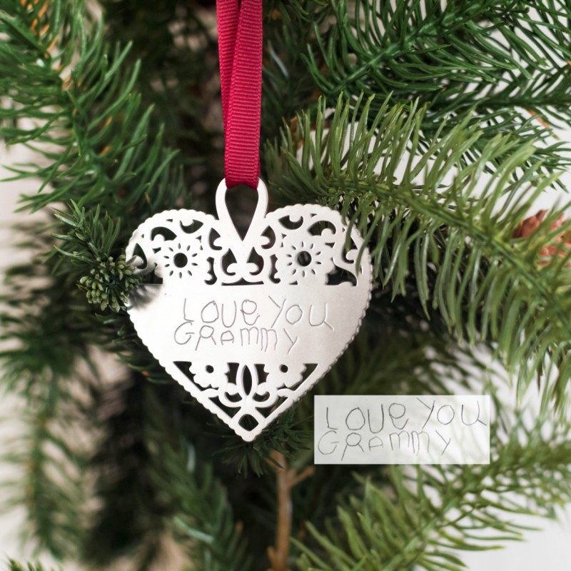 Personalized Christmas Decor.Handwriting Christmas Ornament Personalized Christmas