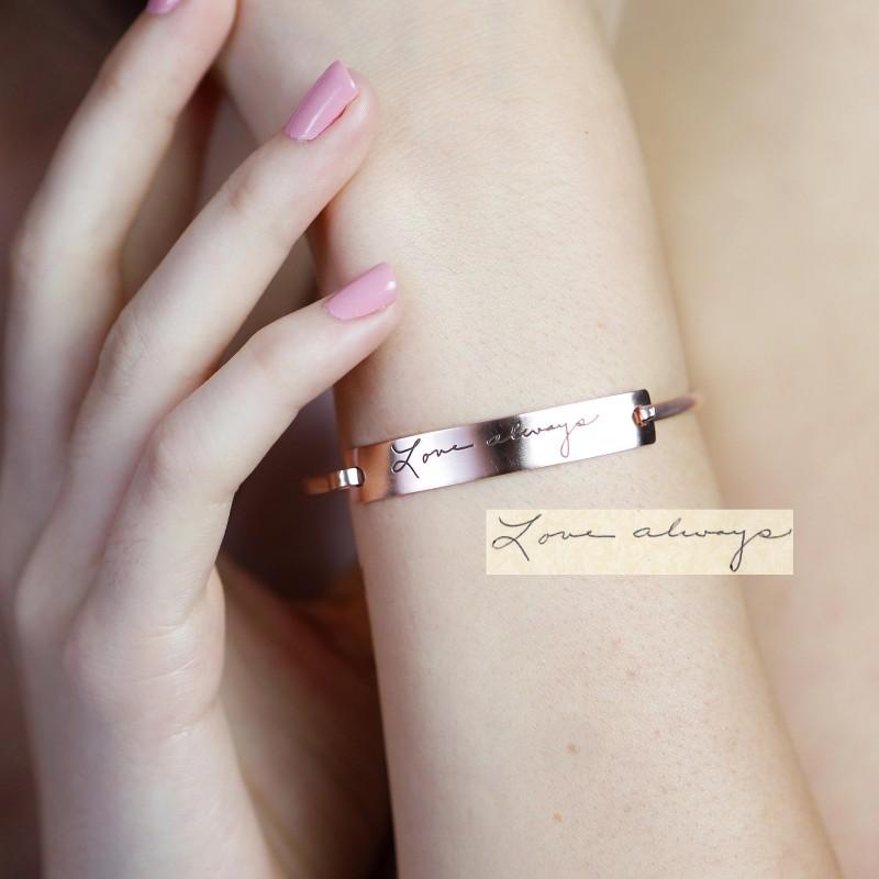 personalized jewelry handwriting bar bangle signature bracelet