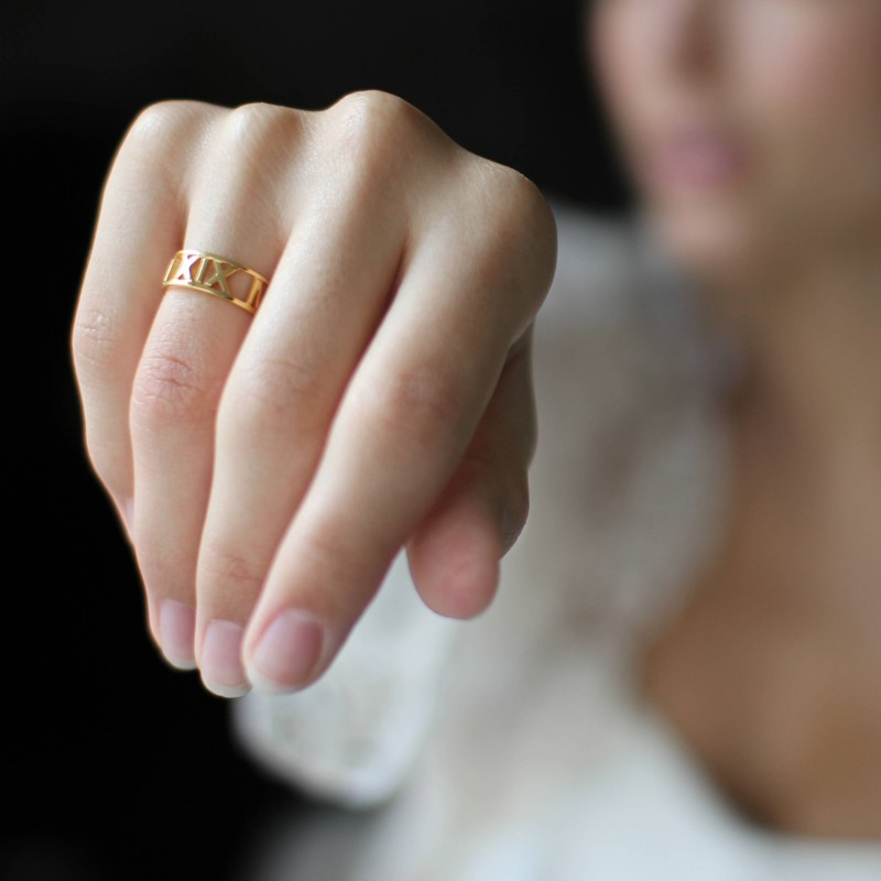 Roman Numerals Ring • Custom Date Ring • Personalized