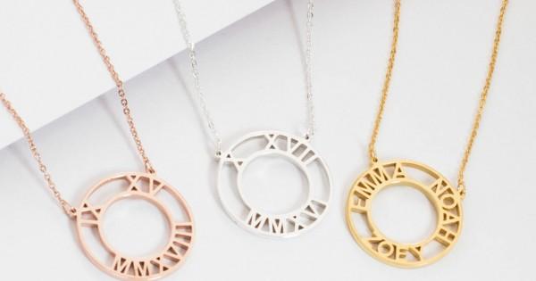 Roman Numerals Necklace Personalized Roman Numerals
