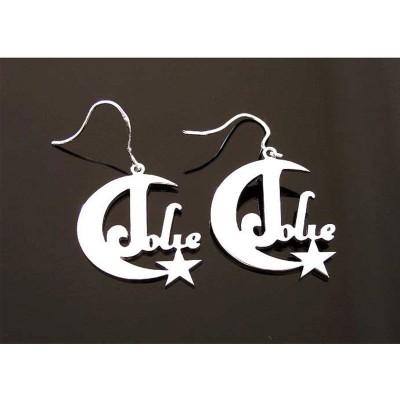 Custom Name Earrings, Personalized Earrings, Any Name Earring, Nameplate Earring, Gold Earring, Mother's Gift