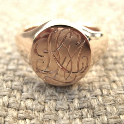CIrcle Designs Signet Monogram Initial Ring Rose Gold - Custom Jewellery By All Uniqueness