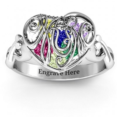 #1 Mom Caged Hearts Ring with Infinity Band - Custom Jewellery By All Uniqueness