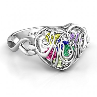 Mum heart Caged Hearts Ring with Infinity Band - Custom Jewellery By All Uniqueness
