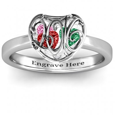 Petite Caged Hearts Ring with Classic Band - Custom Jewellery By All Uniqueness