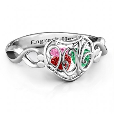 Petite Caged Hearts Ring with Infinity Band - Custom Jewellery By All Uniqueness