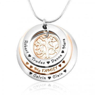 Family Triple Love - Two Tone - Rose Gold n Silver - Custom Jewellery By All Uniqueness
