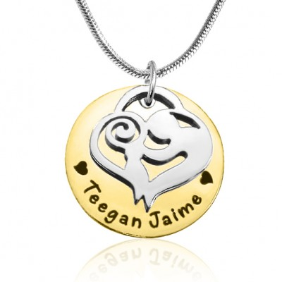 Mother s Disc Single Necklace - Two Tone - Gold Silver - Custom Jewellery By All Uniqueness