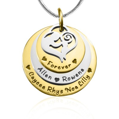 Mother s Disc Triple Necklace - TWO TONE - Gold Silver - Custom Jewellery By All Uniqueness