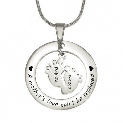 Cant Be Replaced Necklace - Single Feet 18mm - Silver - Custom Jewellery By All Uniqueness