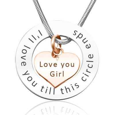 Circle My Heart Necklace - Two Tone HEART in Rose Gold - Custom Jewellery By All Uniqueness