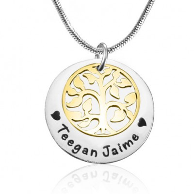 My Family Tree Single Disc - Two Tone - Gold Silver - Custom Jewellery By All Uniqueness
