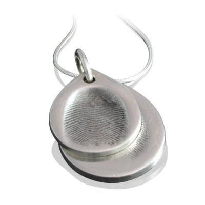925 Silver FingerPrint Cascade TearDrop Pendant - Custom Jewellery By All Uniqueness