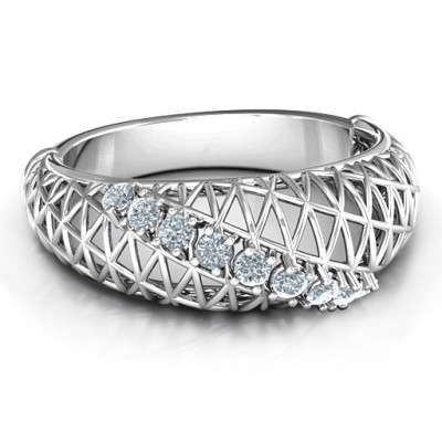 9 Stone Geometric Mesh Ring - Custom Jewellery By All Uniqueness