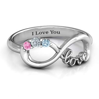Birthstone Infinity Love Ring - Custom Jewellery By All Uniqueness