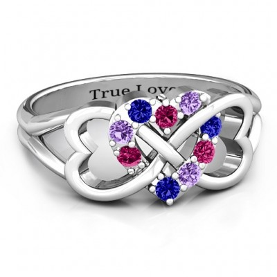 Birthstone Triple Heart Infinity Ring - Custom Jewellery By All Uniqueness
