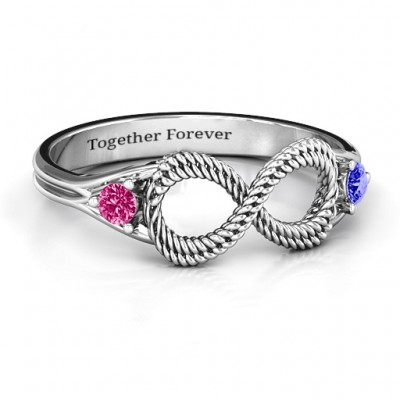 Braided Infinity Ring with Two Stones - Custom Jewellery By All Uniqueness