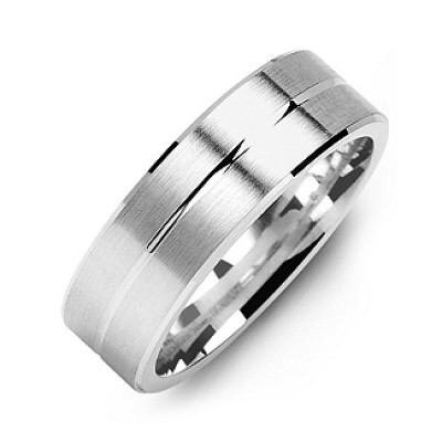 Brushed Men s Ring with Beveled Edges and Lined Centre - Custom Jewellery By All Uniqueness