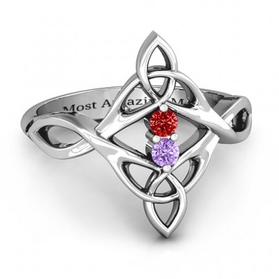 Celtic Sparkle Ring with Interwoven Infinity Band - Custom Jewellery By All Uniqueness