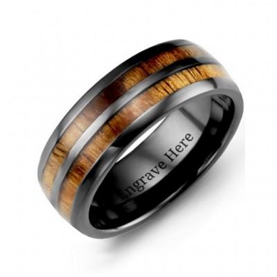 Ceramic Koa Wood Barrel Style Eternity Ring - Custom Jewellery By All Uniqueness