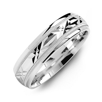 Classic Men s Ring with Diamond Cut Pattern - Custom Jewellery By All Uniqueness