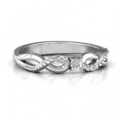 Classic Solitare Sparkle Ring with Accented Infinity Band - Custom Jewellery By All Uniqueness