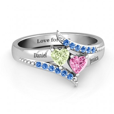 Diagonal Dream Ring With Heart Stones - Custom Jewellery By All Uniqueness