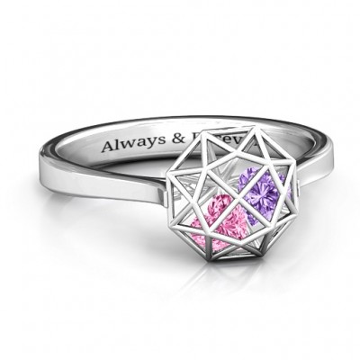 Diamond Cage Ring with Encased Heart Stones - Custom Jewellery By All Uniqueness