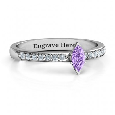 Elegant Marquise with Accent Band Ring - Custom Jewellery By All Uniqueness