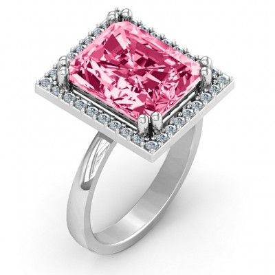Emerald Cut Statement Ring with Halo - Custom Jewellery By All Uniqueness