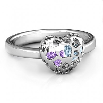 Heart Cut-out Petite Caged Hearts Ring with Infinity Band - Custom Jewellery By All Uniqueness