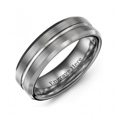 Men s Brushed Grooved Centre Beveled Tungsten Ring - Custom Jewellery By All Uniqueness