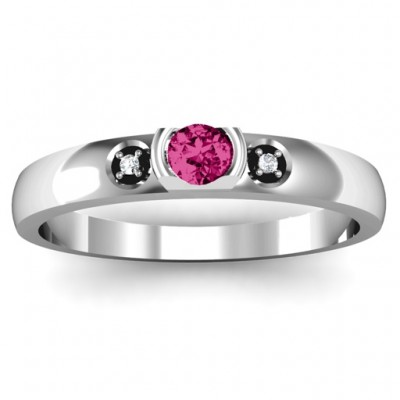 Open Bezel Cut Ring with Accents Stones - Custom Jewellery By All Uniqueness