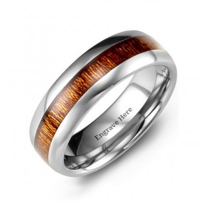 Polished Tungsten Ring with Koa Wood Insert - Custom Jewellery By All Uniqueness