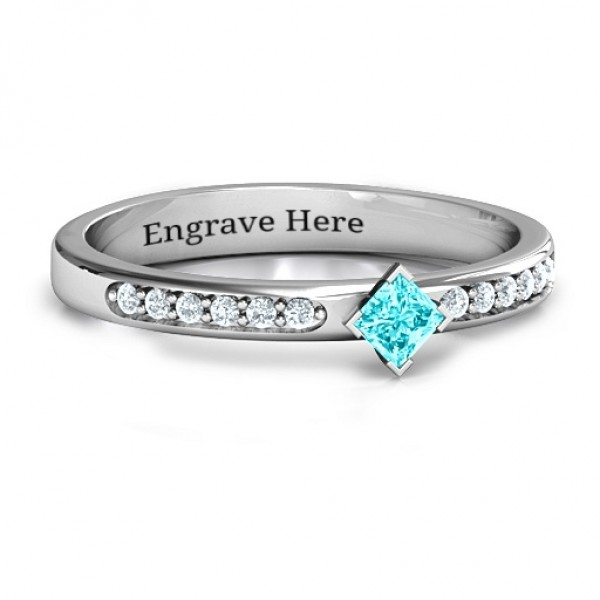 Princess Centre Stone Ring with Twin Accent Rows - Custom Jewellery By All Uniqueness