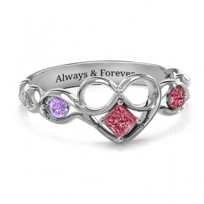 Shimmering Infinity Princess Stone Heart Ring - Custom Jewellery By All Uniqueness