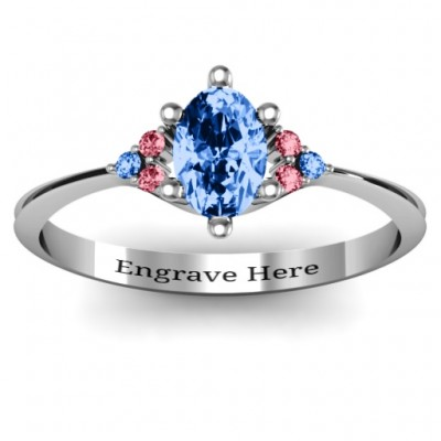Solitaire Oval with Triple Accents Ring - Custom Jewellery By All Uniqueness
