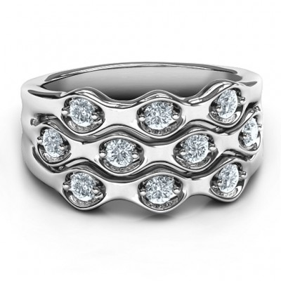 Silver 3 Tier Wave Ring - Custom Jewellery By All Uniqueness