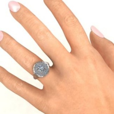 Silver Double Halo Fountain Ring - Custom Jewellery By All Uniqueness