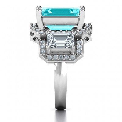 Silver Emerald Cut Trinity Ring with Triple Halo - Custom Jewellery By All Uniqueness