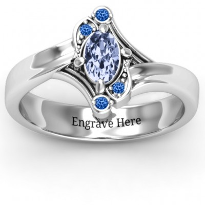 Silver Fancy Oval Asymmetrical Ring - Custom Jewellery By All Uniqueness