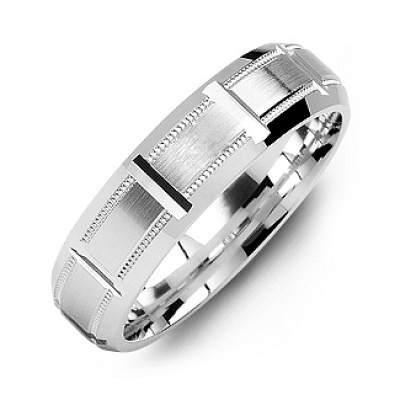 Silver Horizontal-Cut Men s Ring with Beveled Edge - Custom Jewellery By All Uniqueness