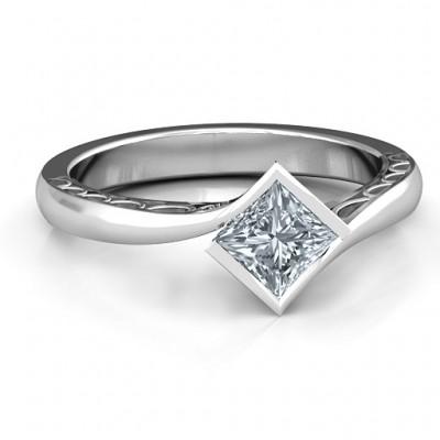 Silver Krista Princess Cut Ring - Custom Jewellery By All Uniqueness